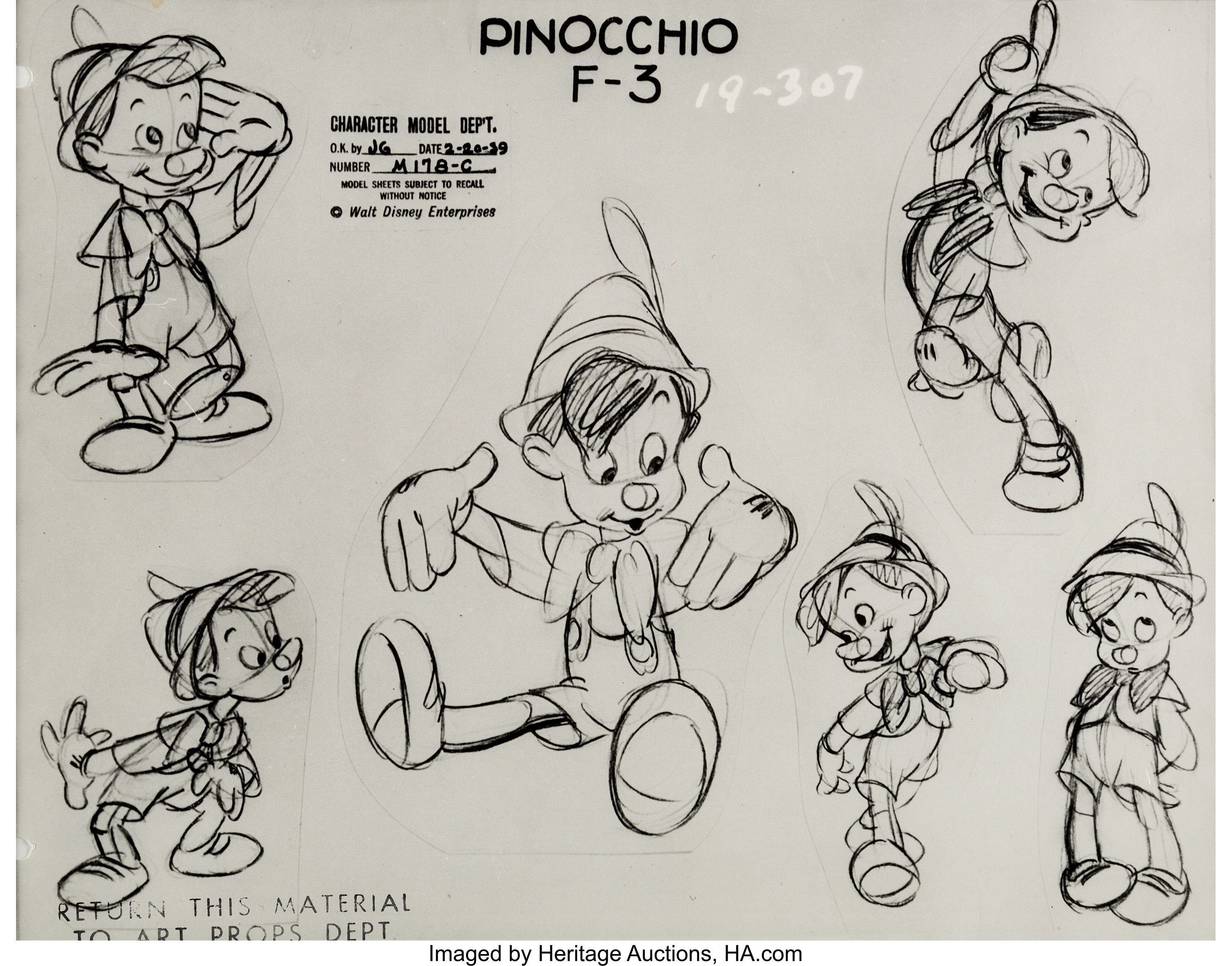 Pinocchio Studio Model Sheet (Walt Disney, 1940)