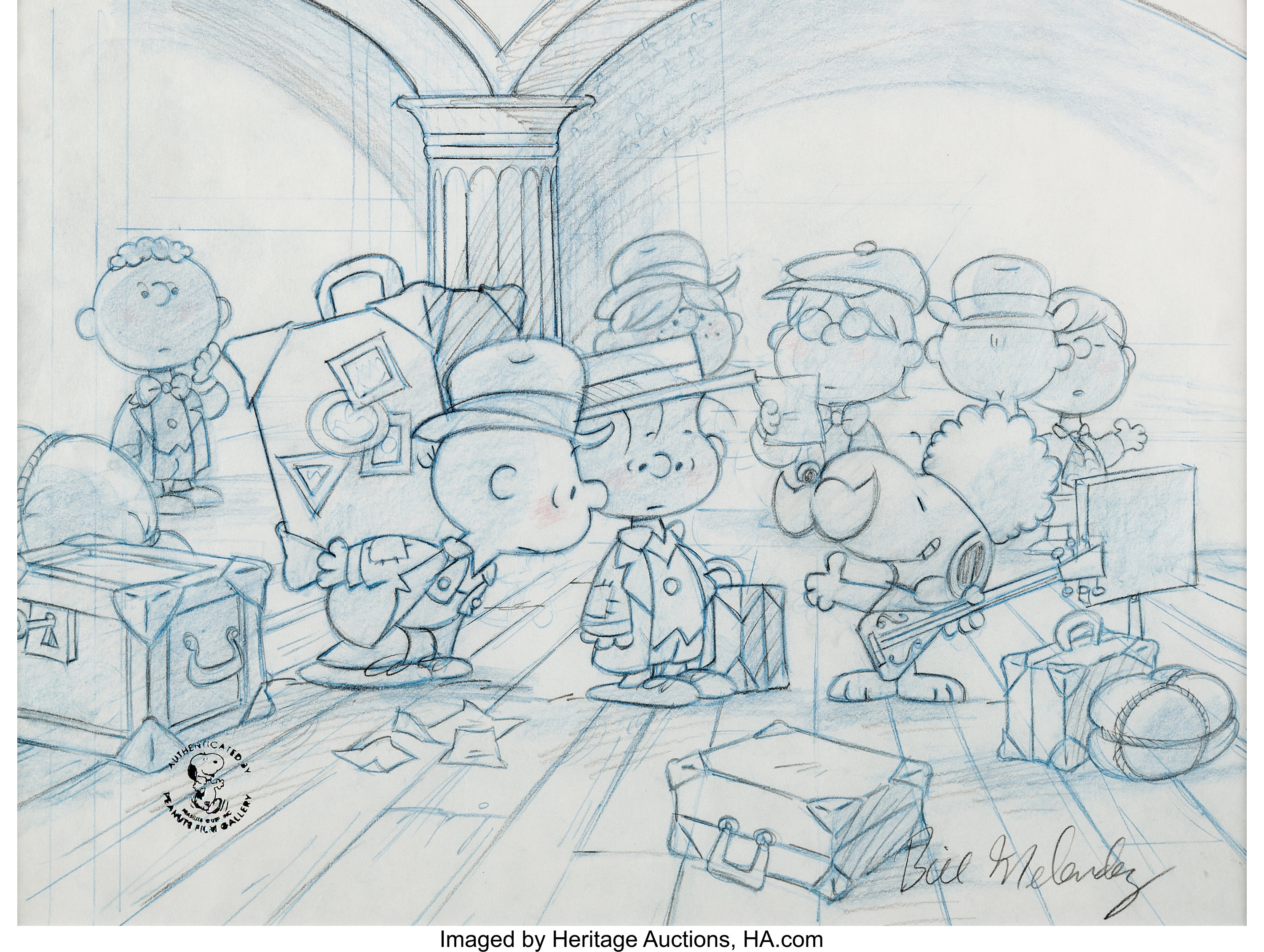 Peanuts – This is America, Charlie Brown Peanuts Concept Layout Drawing Signed by Bill Melendez(1988)